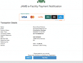 payment for jamb admission letter