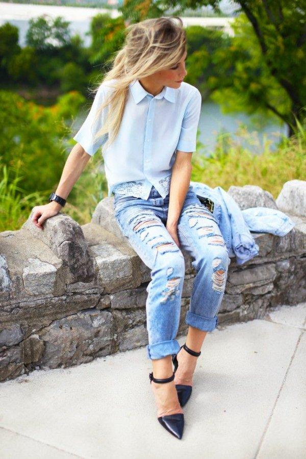 tenue-de-jour-casuel-jeans-femme-chemise-bleue