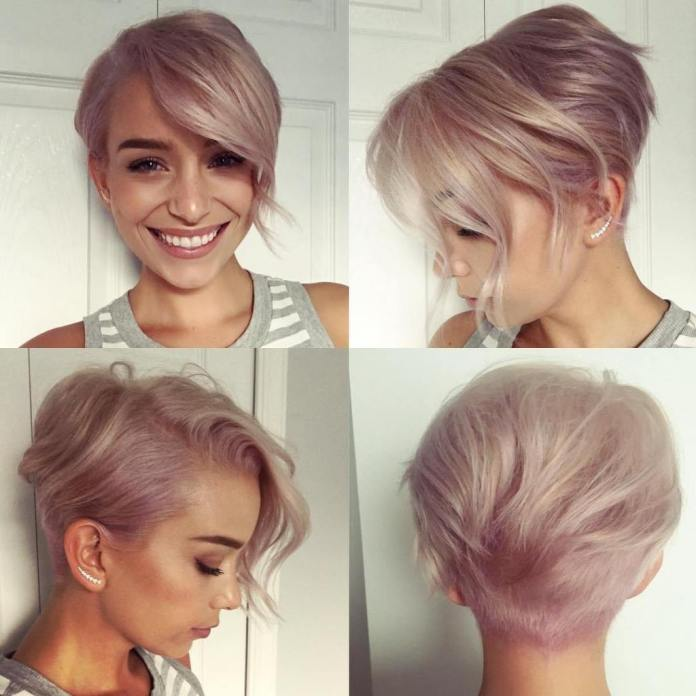Pixie lilas avec de longues franges latérales pour cheveux fins