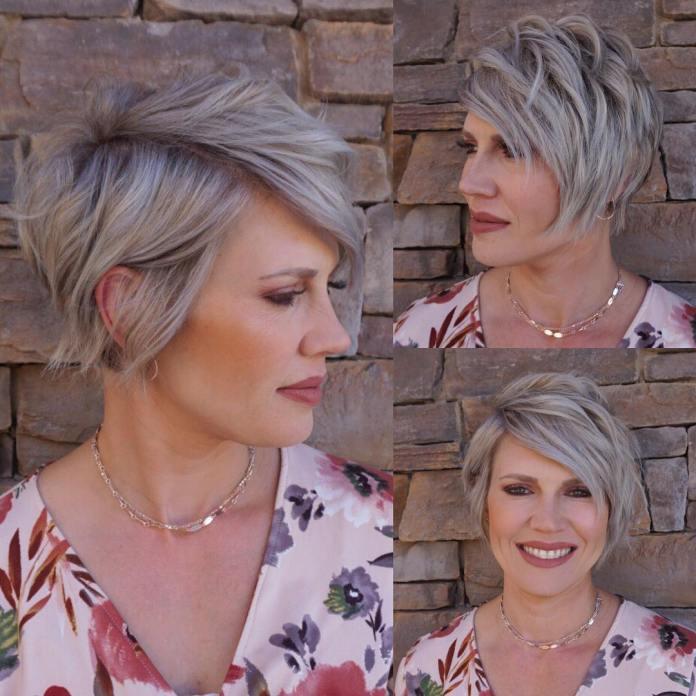 Coupe de cheveux blonde cendrée pour cheveux fins