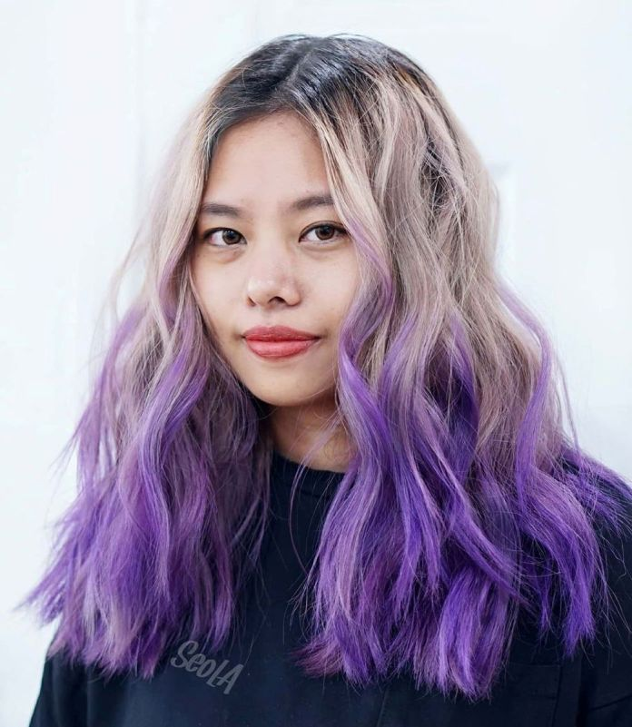 Ombre violet vif pour cheveux Bronde