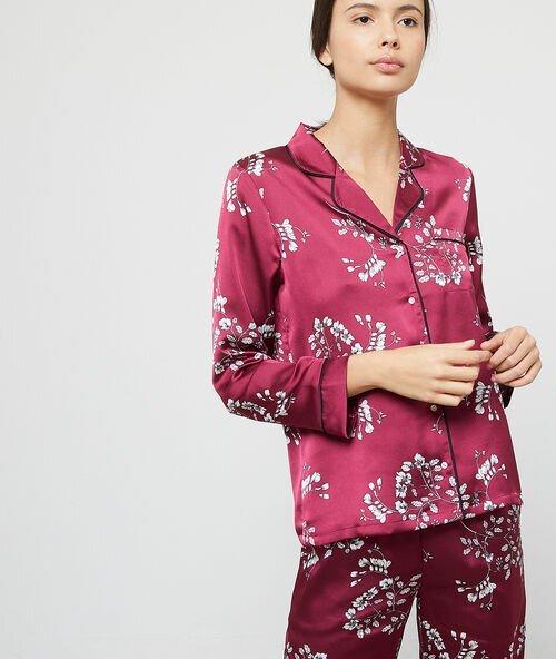 Chemise Pyjama Etam : Chemise de pyjama satinée imprimé fleuri