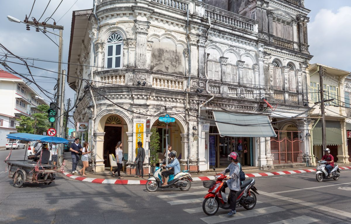 Old Phuket Town Street Scene with taken with travel camera