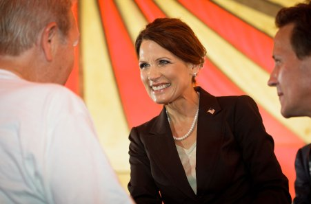 Republican presidential candidate, Rep. Michele Bachmann, R-Minn., speaks to the South Carolina Christian Chamber of Commerce at Christ Central Ministries in Columbia, S.C., Monday, July 19, 2011.(AP Photo/Brett Flashnick)
