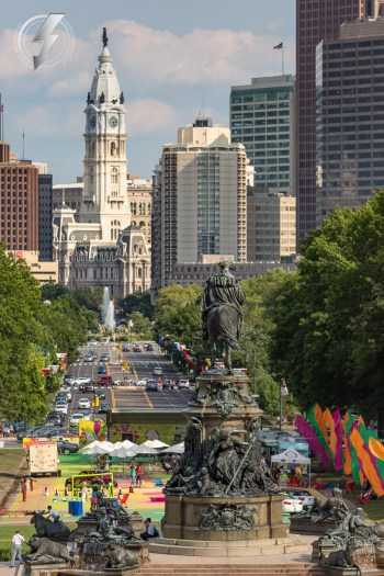 The skyline of the city of Philadelphia, Pa is seen down the length of Benjamin Frankly Parkway from the top of the Rocky Steps at The Philadelphia Museum of Art, overlooks Eakins Oval park.