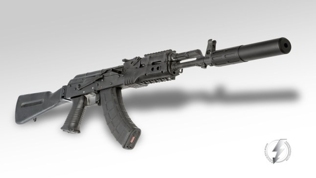 Seen here mounted to a WASR 10/63 AK-47 rifle. The INTERCEPTOR 7.62 is rated for multiple calibers and almost every rifle application, including 7.62x39, 7.62x51/.308 WIN, .300blk, .243, .260, 6mm, 6.5, 6.8, all the way down to 5.56/.223, and can handle all the way up to 300WM with the optional Exoskeleton™ Shroud.