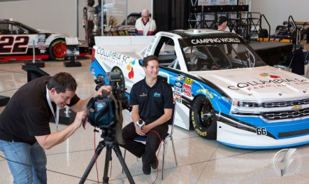 Driver Jordan Anderson answers media questions following the announcement of his 2016 sponsorship by Columbia, SC and his new team Bolen Motorsports.
