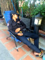Sleeping security guard - Riverfront Phnom Penh