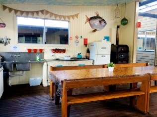 Glamping kitchen area