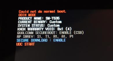 Could not do normal boot odin mode