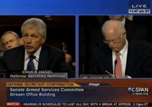 Former Sen. Chuck Hagel (R-Nebraska) testifying on Capitol Hill Thursday.