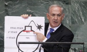 PM Netanyahu speaking before the UN General Assembly in October 2012.