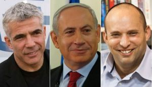 Yair Lapid (left), Benjamin Netanyahu (center), and Naftali Bennett (right) appear to have formed new Israeli government.
