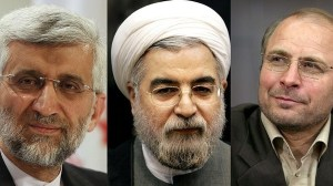 Three of the candidates for Iran's elections described as frontrunners: From left, Saeed Jalili, Hassan Rouhani and Mohammad Bagher Ghalibaf. (Photo courtesy: IB Times/Al Arabiya)