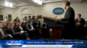 """President Obama making his off the cuff remark about a """"red line"""" in Syria in August 2012."""