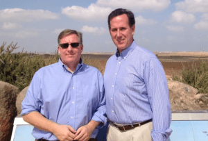 Fmr. Senator Rick Santorum and I on the border of Gaza during the last war with Hamas in August 2014.
