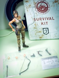 So this is the figure out of the package, and her accessories packed and taped behind.