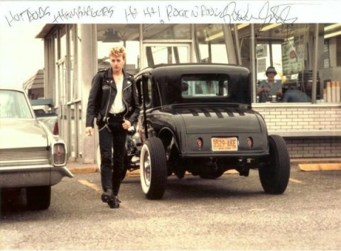 """The ultimate in Rockabilly style…Brian with his first hot rod ~ a '31 Model A Ford ~ in front of All-American Hamburgers (1983) ~ Says Brian, """"I remember drag racing on Old Country Road before the cops shut us down!"""" The Ford, built by Mike Harmon at Massapequa Auto Body, was used on the cover of Stray Cats' Rant n' Rave."""