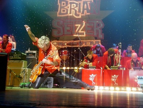 Brian leading the Brian Setzer Orchestra