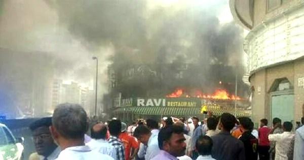 fire at Ravi Restaurant bur Dubai