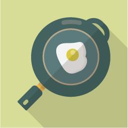 フライパン&目玉焼きのアイコン素材