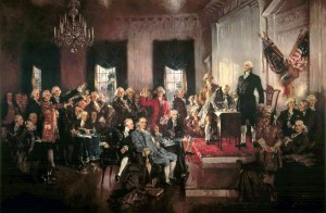 Painting of the signing of the US Constitution