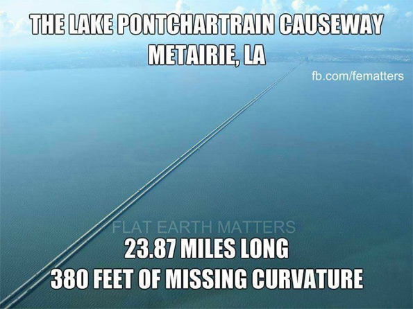 Flat earthers post pictures like this of the Lake Pontchartrain causeway, to declare that the earth is flat: