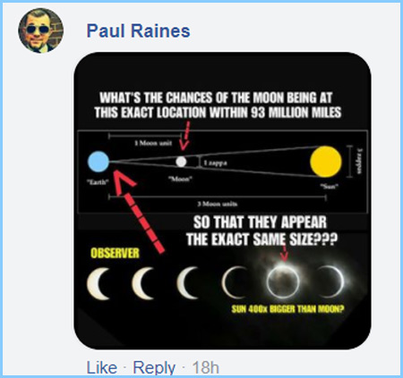 Flat earther aul Raines shared this meme on the Facebook group: The FLAT out TRUTH & no BALL face LIES.