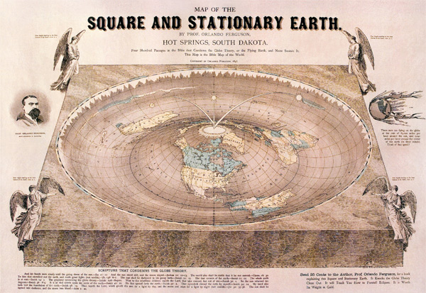 Most flat earthers use supposed flat earth maps (which are really, north-polar azimuthal equidistant projection maps of the globe earth), which have the four corners on the outside of the dome.