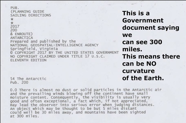 A flat earther posted this publication from NASA, which says that mountains have been sighted at 300 miles.