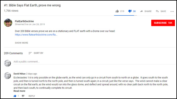 Nathan Roberts of FlatEarthDoctrine has been posting a video series called 'Bible Says Flat Earth, prove me wrong'