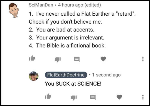 SciManDan Comment to Nathan Roberts - FlatEarthDoctrine