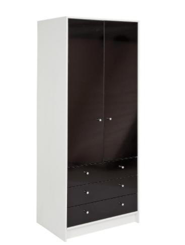 Malibu-2-Door-3-Drawer-Wardrobe-220-white-and-black-gloss