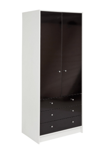 Malibu-2-Door-3-Drawer-Wardrobe-220-white-and-black-gloss
