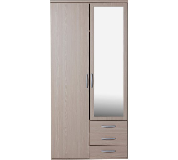 Hallingford 2 door 3 drawer mirrored wardrobe - light oak