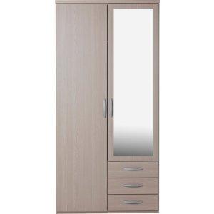 Hallingford 2 door 3 drawer mirrored wardrobe - light oak