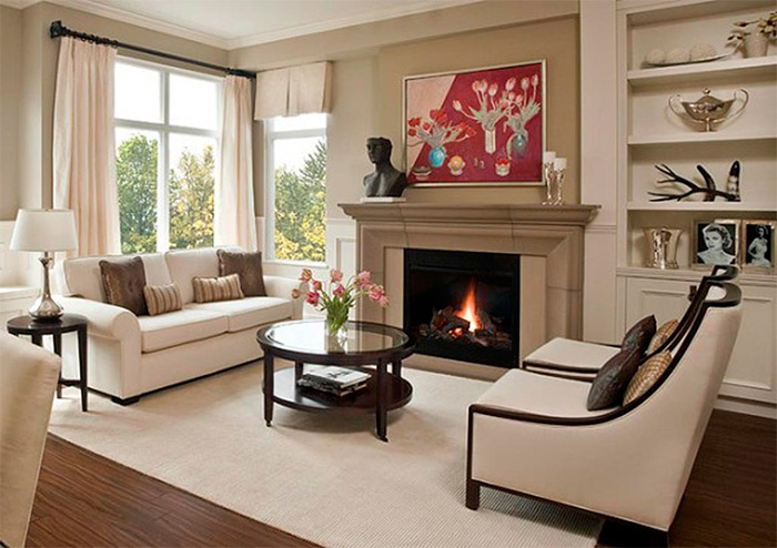 Living Room With Corner Fireplace Corner Fireplace In The