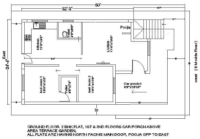 25×35 plot house plan ground floor