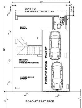 20x30 duplex corner plot Ground floor plan