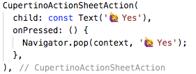 Cupertino ActionSheet action