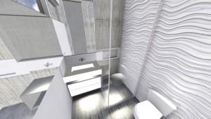 banheiro decorado com revestimento 3d