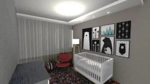 projeto de quarto de bebê colorido