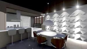 projeto de decoração e arquitetura de interiores da sala de jantar, com visão da cozinha integrada e sala de estar