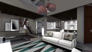 projeto de decoração e arquitetura de interiores da sala de estar, com visão da cozinha integrada e sala de jantar