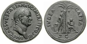 Vespasian Denarius, 71 AD, IMP CAES VESPASIAN AVG P M TR P P P COS III / IVDAEA CAPTA