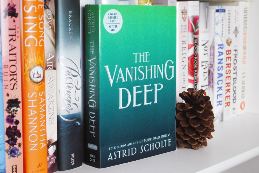 Photo by Flavia the Bibliophile of her The Vanishing Deep ARC with no cover art