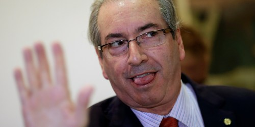 President of Brazil's Chamber of Deputies Eduardo Cunha gestures during a breakfast with journalists at the Chamber of Deputies in Brasilia, Brazil, December 29, 2015. REUTERS/Ueslei Marcelino