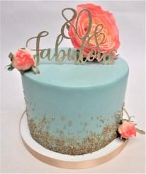 teal gold sugar cake flowers