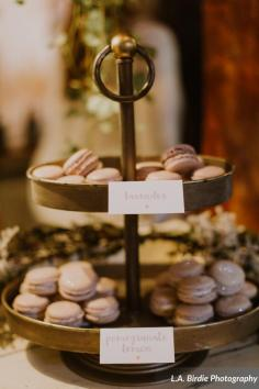 macaron rustic wedding display - L.A. Birdie Photography at Spring Hill Manor