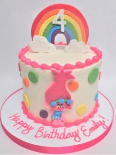 rainbow pink troll cake